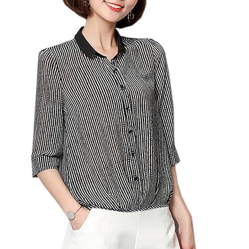 Mujeres Moda Rayado Loose Casual Classic Camisa Tops Blusa