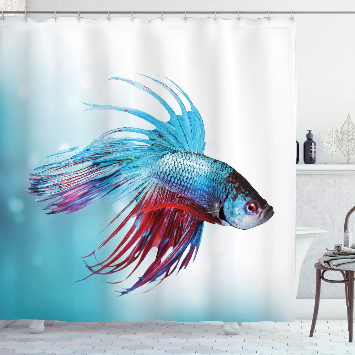 Ambesonne Aquarium Shower Curtain, Siamese Betta Fish Swimming in Aquarium Aggressive Sea Animal Nautical, Fabric Bathroom Decor Set with Hooks, 70 inches, Sky Blue Dark Coral