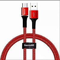 Baseus CAMGH-C09 Halo Micro Şarj Kablosu, 2A, 1M, Kırmızı