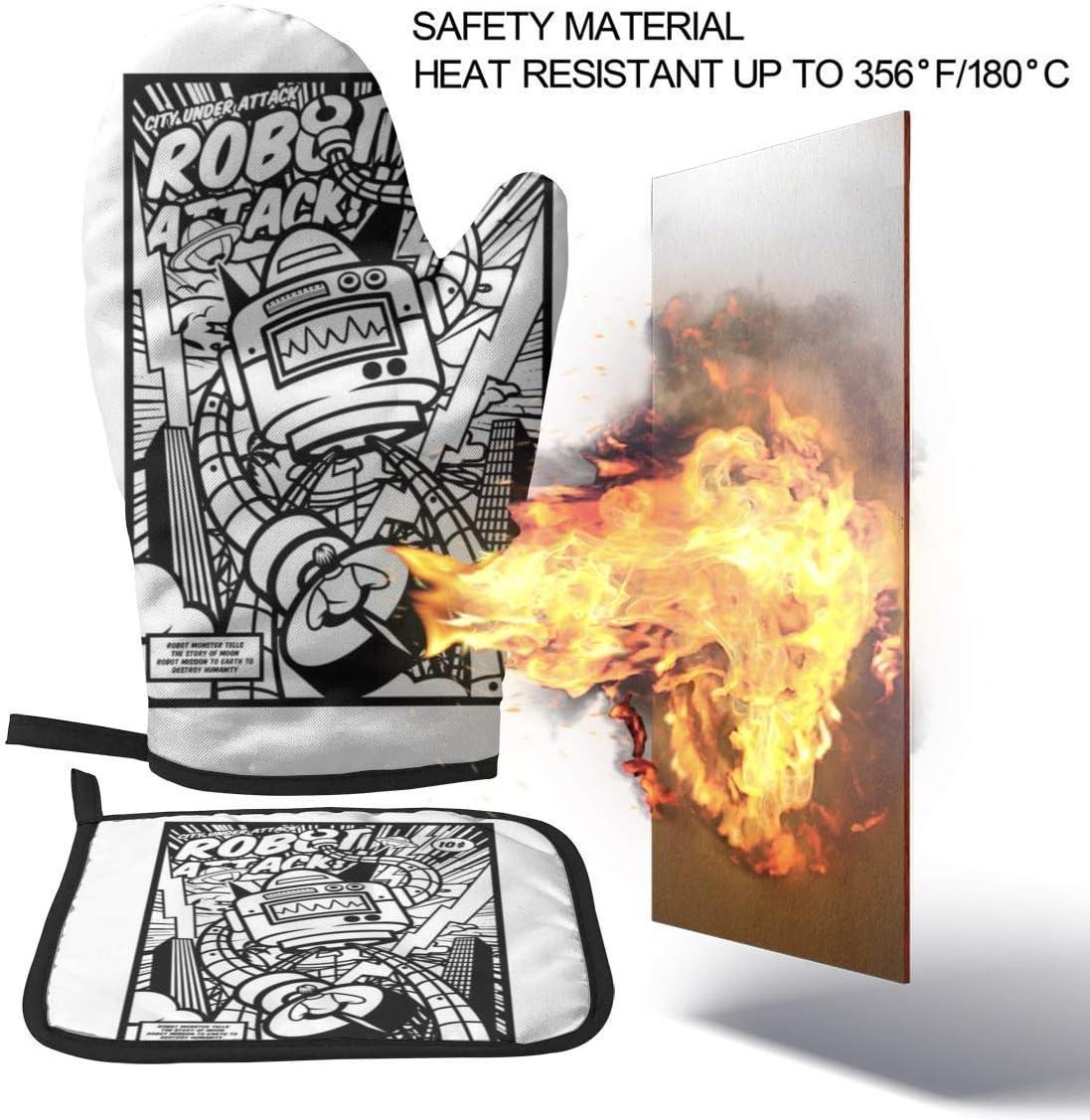 Mjmhvfhtgdcgdcx Robot Attack estilo cómico, guantes de cocina resistentes al calor, guantes de cocina: Amazon.es: Jardín