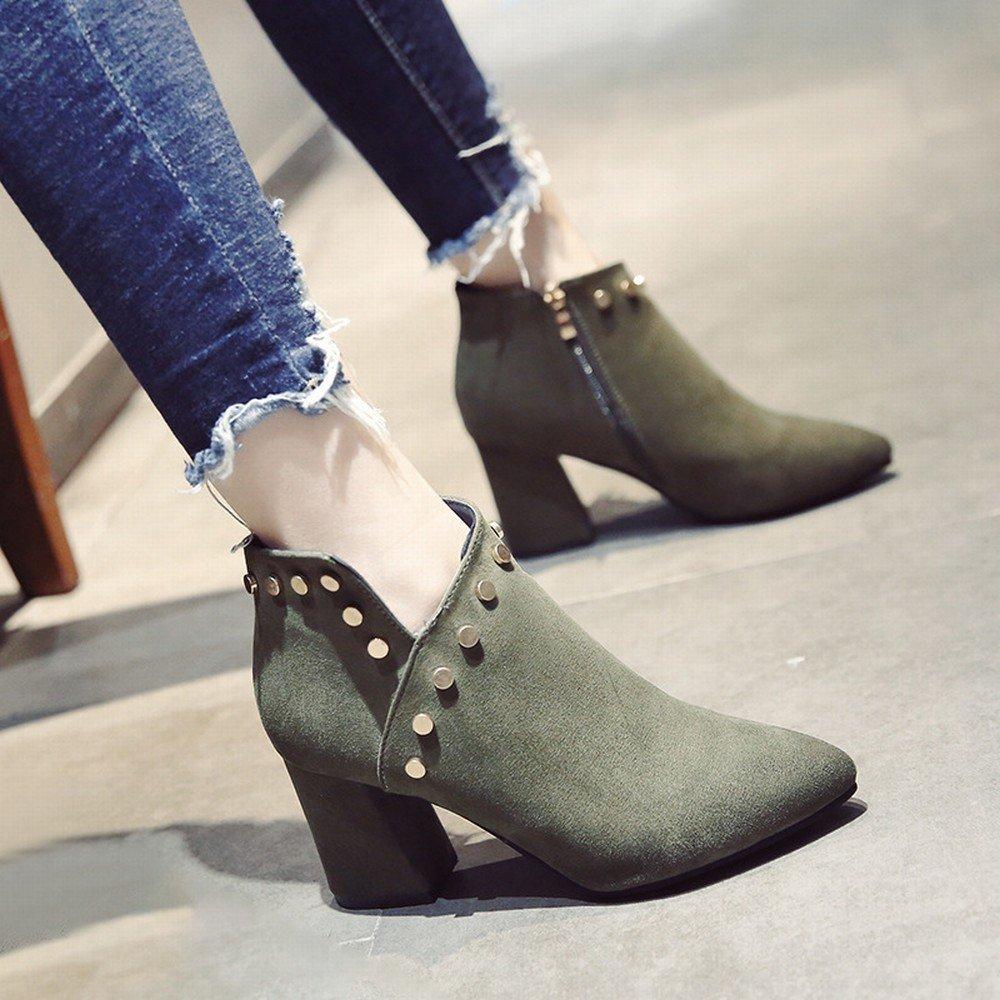 CXY Add Samtspitze Einzelne Herbst Schuhe Schuhe Schuhe High Heels Wildleder Seite mit Einem Niet V-Seite Reißverschluss Schuhe Grün 36 b64460
