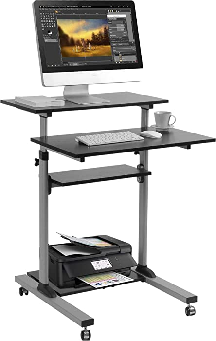Mobile Standing Desk - TechOrbits Rolling Workstation Cart - Stand Up Media Podium Mobile Desk - Height Adjustable Presentation Computer Cart