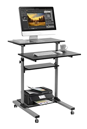 Mobile Standing Desk – TechOrbits Rolling Workstation Cart – Stand Up Media Podium Mobile Desk – Height Adjustable Presentation Computer Cart