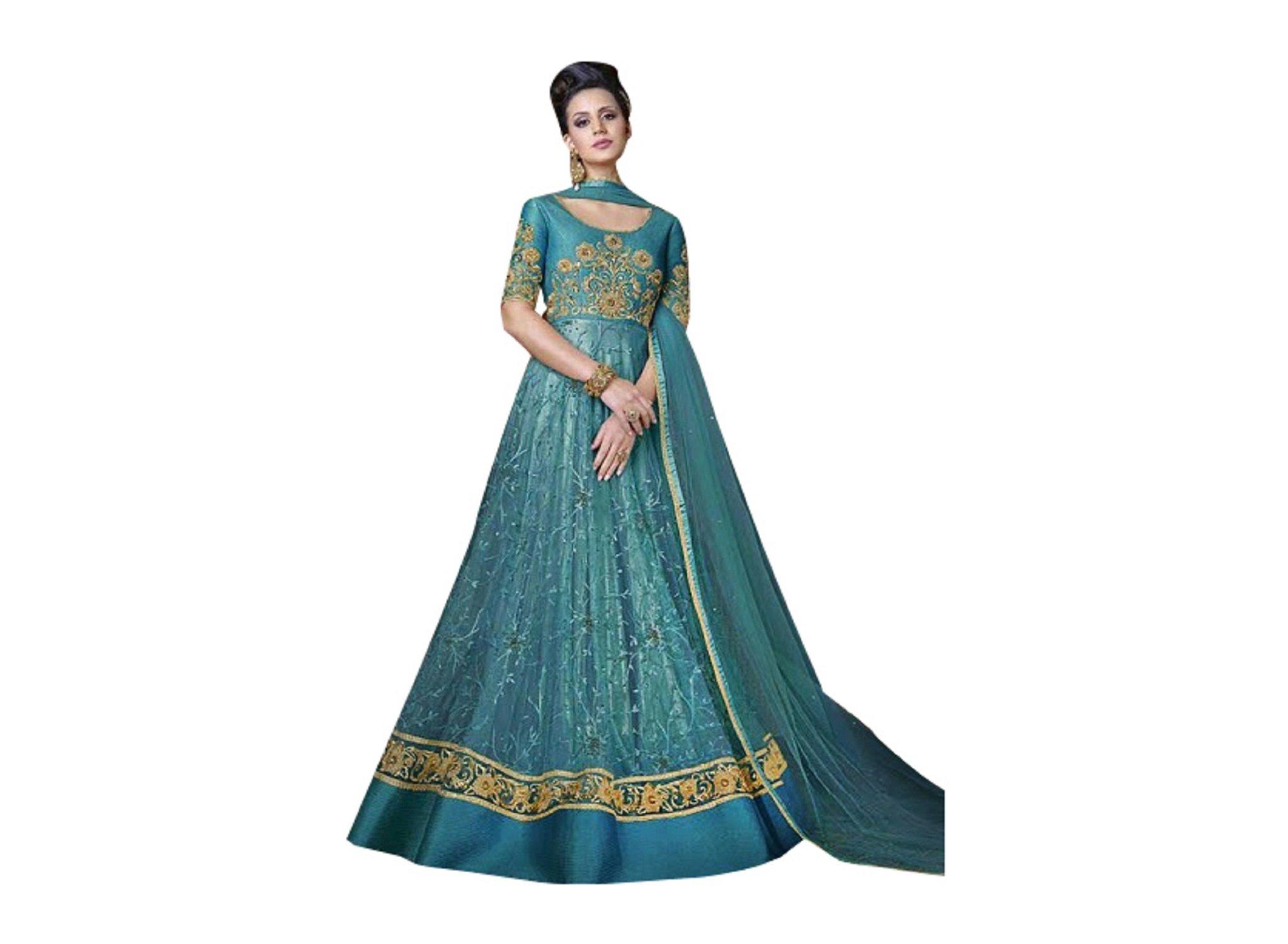 Designer Party Wear Gown Long Dress Bollywood Indian Ethnic Wedding Women Muslim Bridal Embroidery Zari Work 640 (Light Blue)
