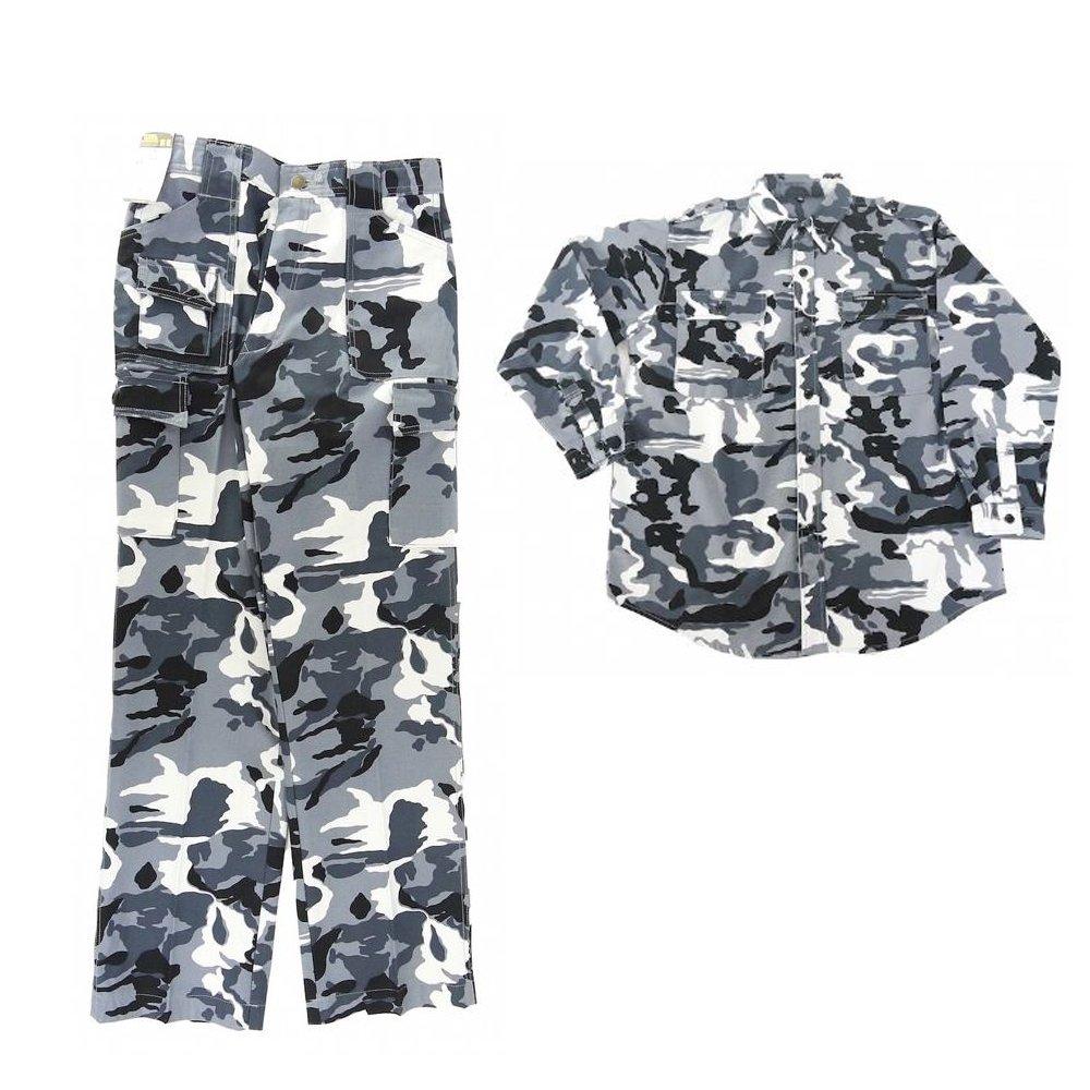 寅壱/寅一/4441シリーズ 上下セットアーミーシャツ ×プッシュパンツ (4441s619701) 作業着 作業服 ニッカポッカ 寅一 鳶服 B07B5X5J4Q L×W82|67:迷彩白黒
