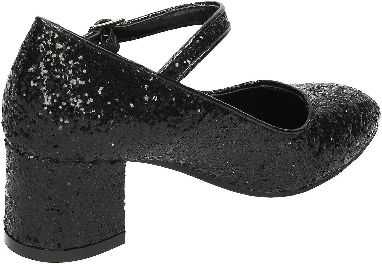 Spot On Girls Heeled Sparkly Dolly Shoes H3057 US Size 1 UK Size 13 EU Size 32 Black Glitter