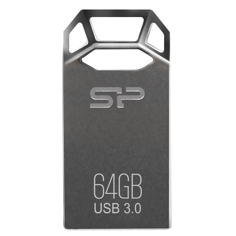 Silicon Power 64GB Jewel J50 USB 3.0 Zinc-Alloy Compact Flash Drive, Titanium Edition (SP064GBUF3J50V1TBT)