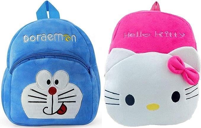 DZert Kids H-Kitty-Dormon Velvet Soft Plush Backpack for 2 to 5 Years Age - Pack of 2