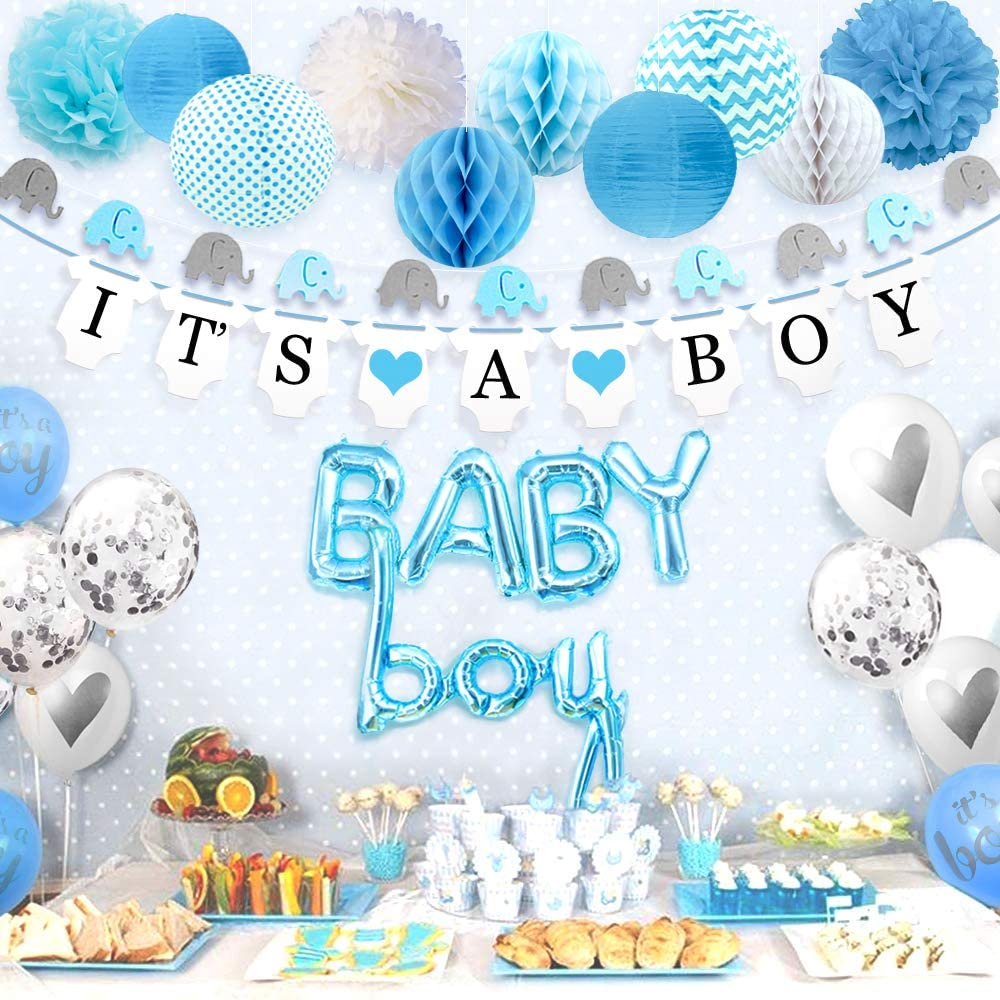 Amazon Com Sweet Baby Co Boy Baby Shower Decorations For Boy With Elephant Garland Its A Boy Banner Baby Boy Balloons Silver Confetti Balloon Honeycomb Balls Lanterns Pom Poms Baby Blue True Blue