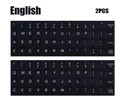 amazon com 2pcs pack universal english keyboard stickers black