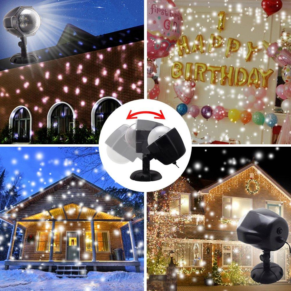 GAXmi Schnee fällt Licht Weihnachten Weiß Schneeflurries LED ...