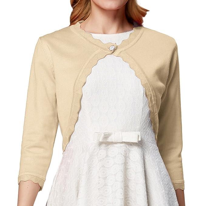 GRACE KARIN Women 3/4 Sleeves Cardigan Shrug Knit Bolero at Amazon ...