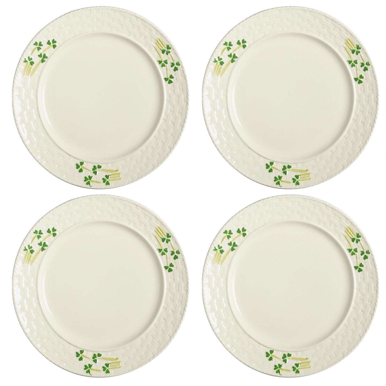 Celtic Classics Traditional Irish Basket Weave Shamrocks Dinner Plates, Set of 4