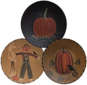 "CWI Gifts 6"" 3Pc Scarecrow Pumpkin Plate, 6"", Multi"