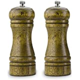 TEEFAN Wooden Refilled Interchangeable Salt & Pepper Grinder Mill Ceramic Grinding Tank and Adjustable Rotor to Put Out Coarse to Fine Consistent Powder, Set of Two, 5 Inch