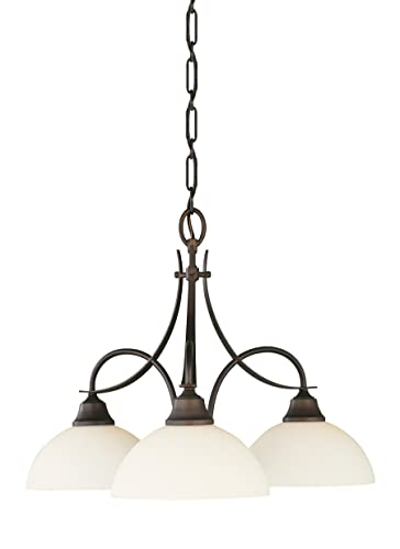 Feiss F1885 3ORB Boulevard Glass Mini Chandelier Lighting, Bronze, 3-Light 24 Dia x 17 H 300watts