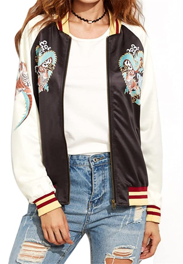 Women Long Sleeve Printed Dragon Paneled Biker Zip Up Baseball Bomber Coat Jacket at Amazon Womens Coats Shop