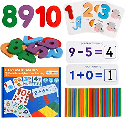Wooden Counting Sticks /& Math Learning Cards Montessori Teaching Materials