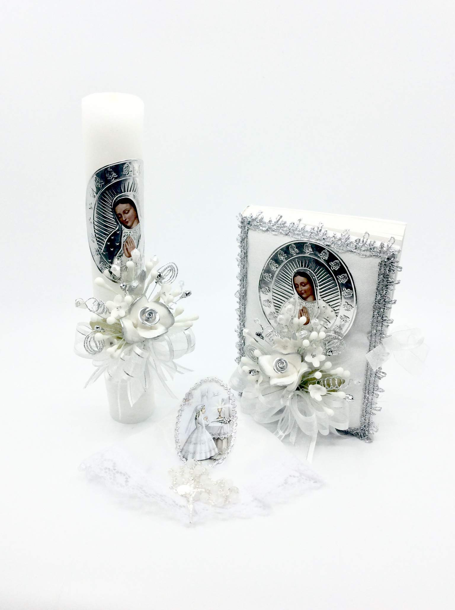 Casa Ixta First Communion Candle Lady of Guadalupe Image