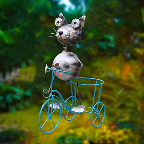 W-DIAN Solar Garden Lights Flowerpot Plant Container Metal Art Outdoor Patio Decorative with LED Kitty Lawn Decor,Halloween Light,Christmas Yard Decoration