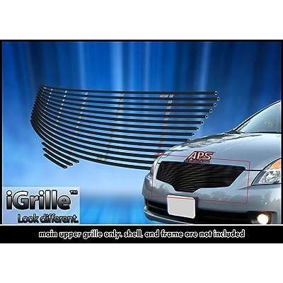 Black Stainless Steel eGrille Billet Grille Grill For 07-09 Nissan Altima Sedan Insert