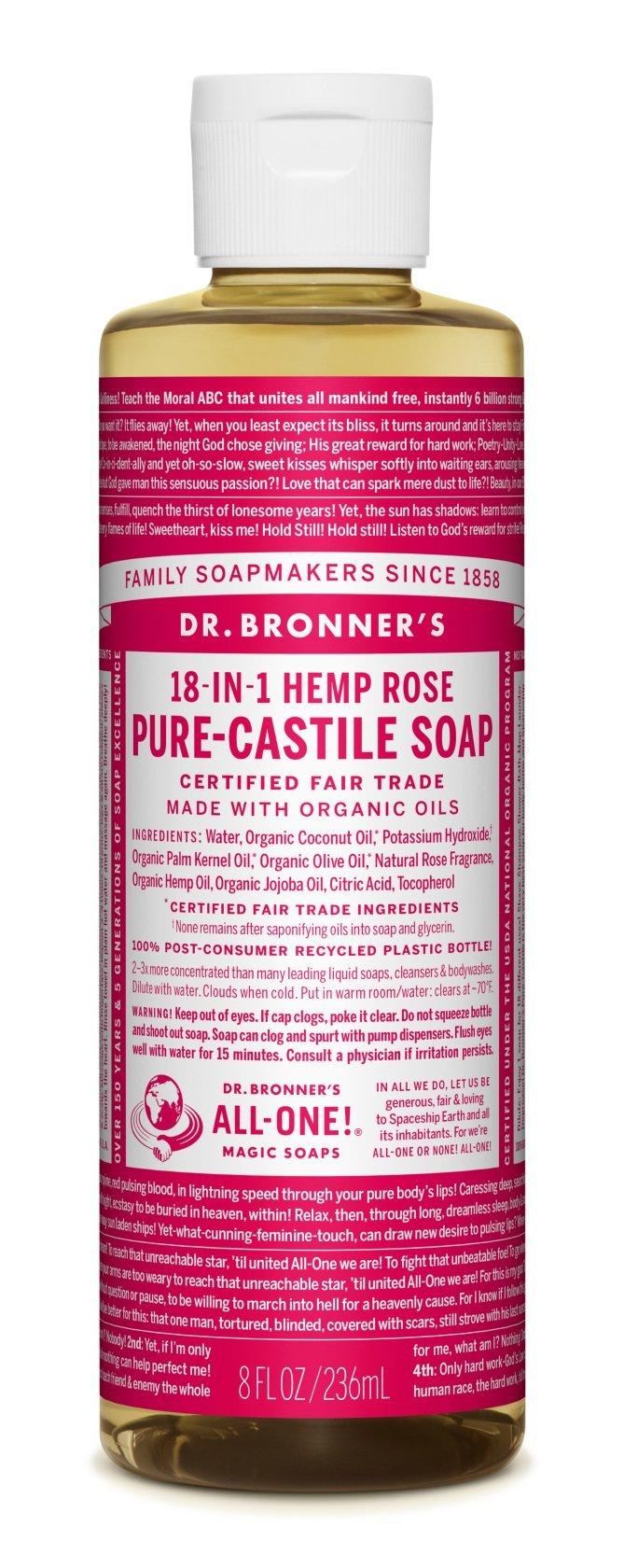 Dr. Bronner's Fair Trade & Organic Castile Liquid Soap - (Rose, 8 oz)