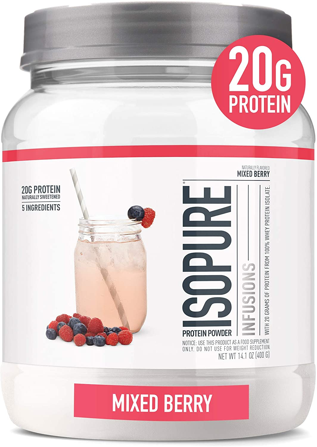 Amazon Com Isopure Infusions Refreshingly Light Fruit Flavored Whey Protein Isolate Powder Shake Vigorously Infuses In A Minute Mixed Berry 16 Servings Health Personal Care