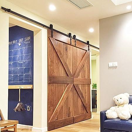 Hahaemall 10FT/120u0026quot; Black Country Barn Wood Steel Sliding Double Door  Hardware Closet Set