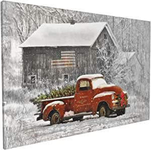 Familypers Christmas Wall Art Vintage Red Truck Canvas Prints Modern Pictures with Christmas Tree and Old-Fashioned Red Pick-Up Truck Winter Scene Artwork 16x24inch Home Decor for Living Room Bedroom