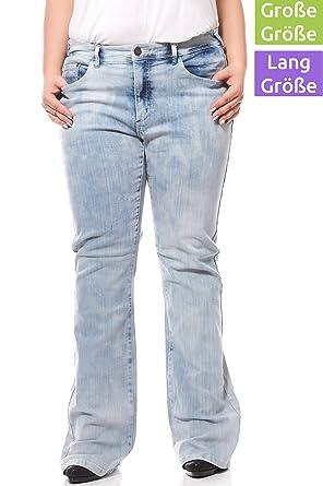 b1849f09f8 Sheego Damen Bootcut Stretch-Jeans Hose Denim Große Größen Kurzgröße  Hellblau, Größenauswahl:46