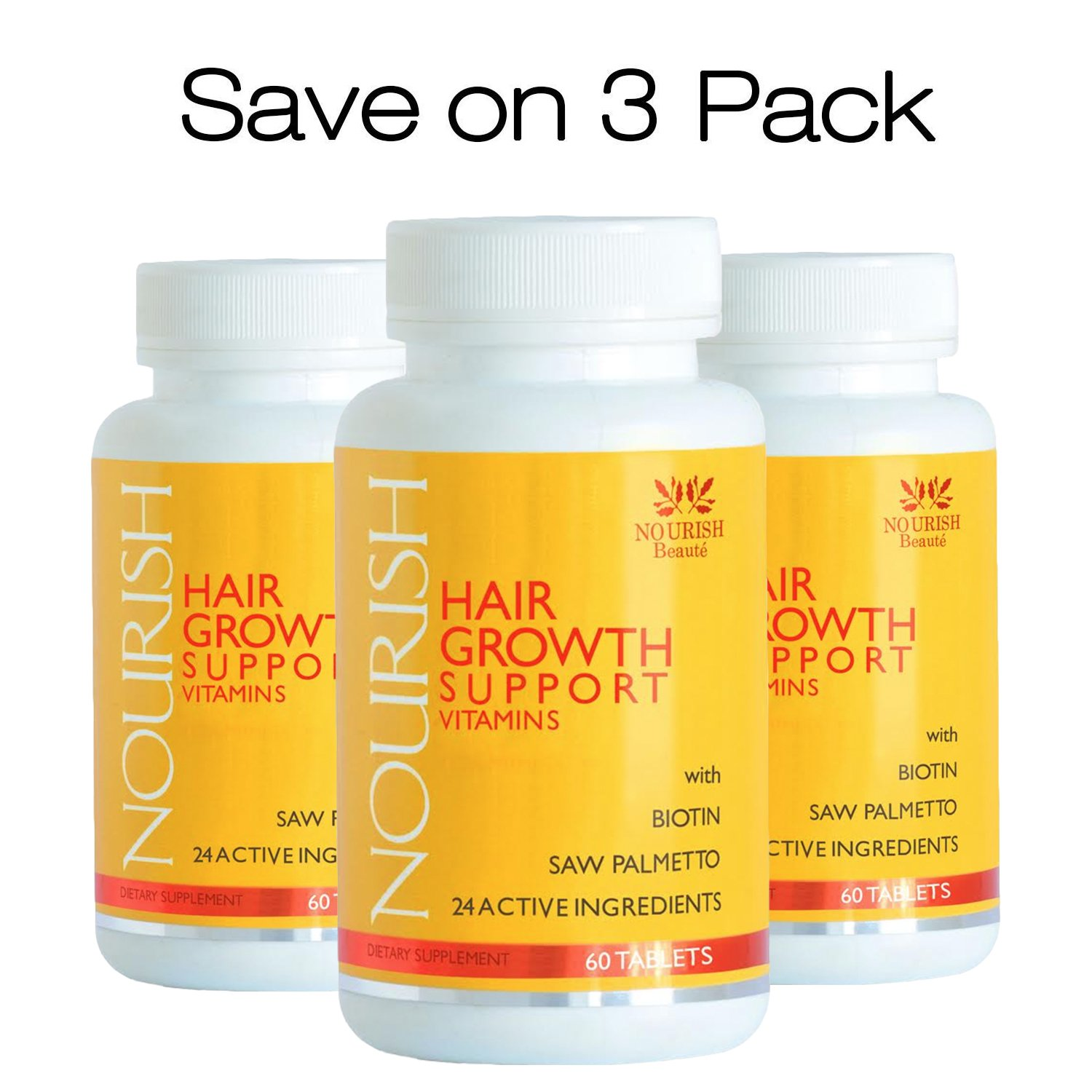 PRICE REDUCTION! 3 PAK Nourish Hair Growth Vitamins with Biotin and DHT Blockers- Guaranteed Results, Less Loss and Better Skin and Nails Nourish Beaute