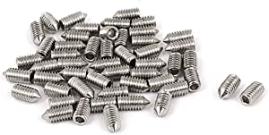 uxcell M4 x 8mm 304 Stainless Steel Cone Point Hex Socket Grub Screw 50 Pcs