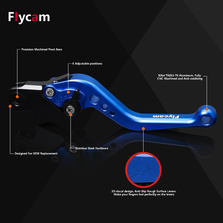 FLYCAM Frenos y Embrague Palancas Ajustable Aluminio CNC Corto Palanca paraYamaha MT-07 2014 XJ6 Diversion 2009-2015 MT-09//SR//FZ9 2014 FZ8 2011-2015 FZ6R 2009-2011 Fazer 600 1999 PWL077