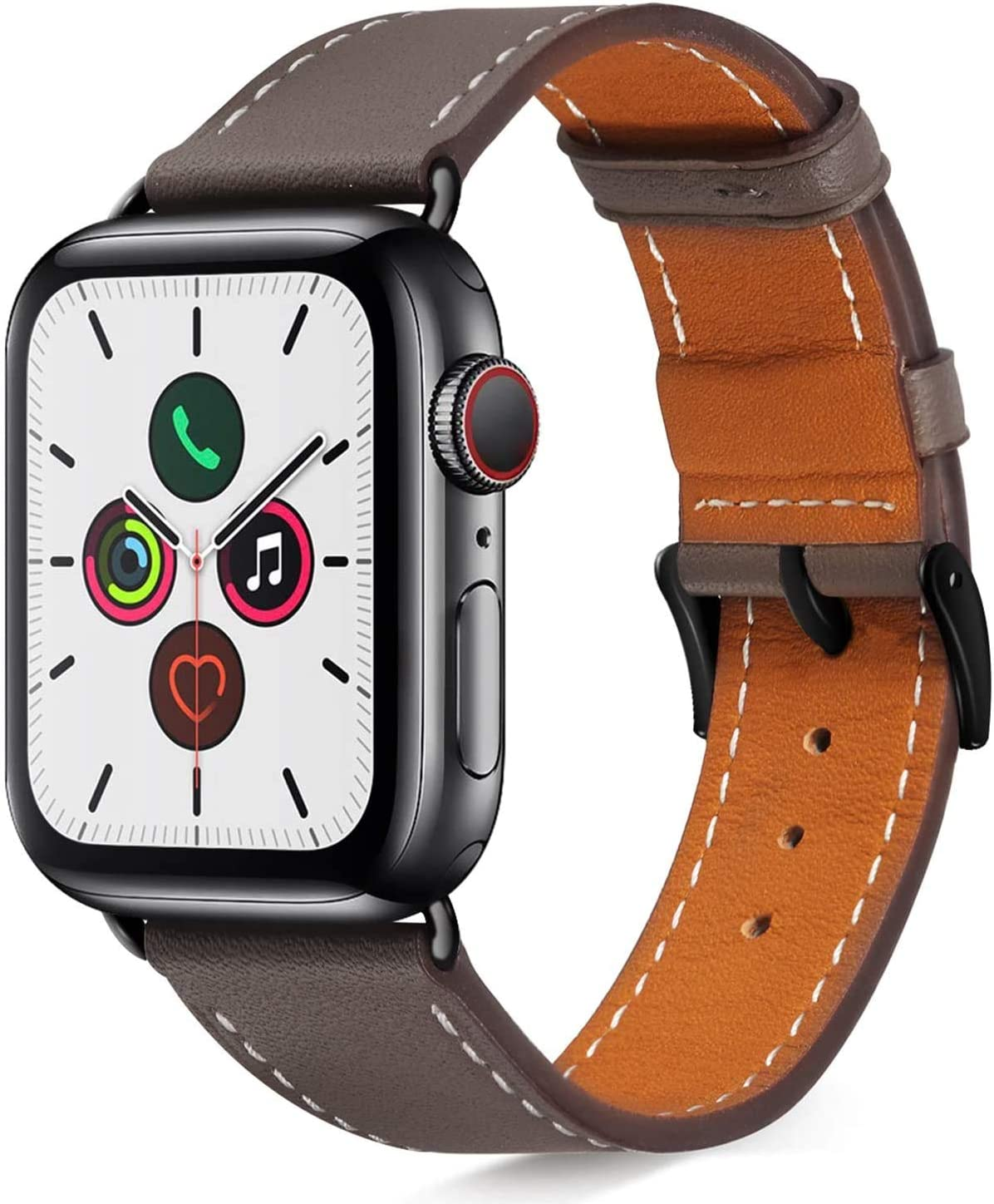 Compatible with iWatch Bands 38mm 40mm Womens for Apple Watch Band Series 6 SE 5 4 3 2 1 Men, Pierre Case Durable Genuine Leather Replacement Strap, Adjustable Stainless Metal Clasp,Gray