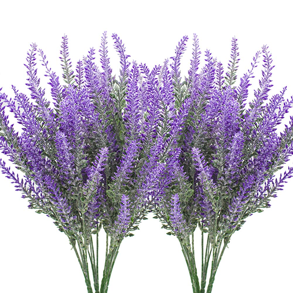 Hukidoy Artificial Lavender Plant With Silk Flowers For Wedding