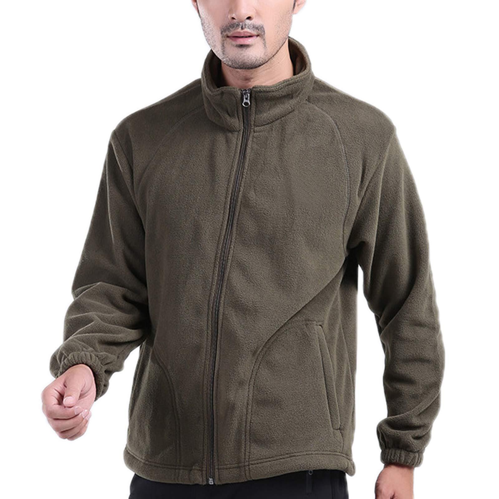 Elonglin Mens Fleece Jacket Full Zip Stand Collar Sportwear Top Outwear Dark Green Bust 46.8''(Asie XL) by Elonglin