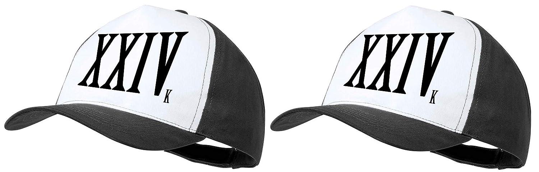 MERCHANDMANIA Pack 2 Gorras Negras Logo 24 Famoso Moda Cap: Amazon ...