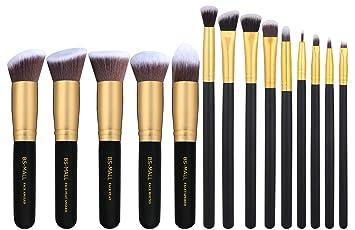 4e057d3215a9 BS-MALL 14 PCS Premium Synthetic Kabuki Makeup Brush Set Cosmetics  Foundation Blending Blush...