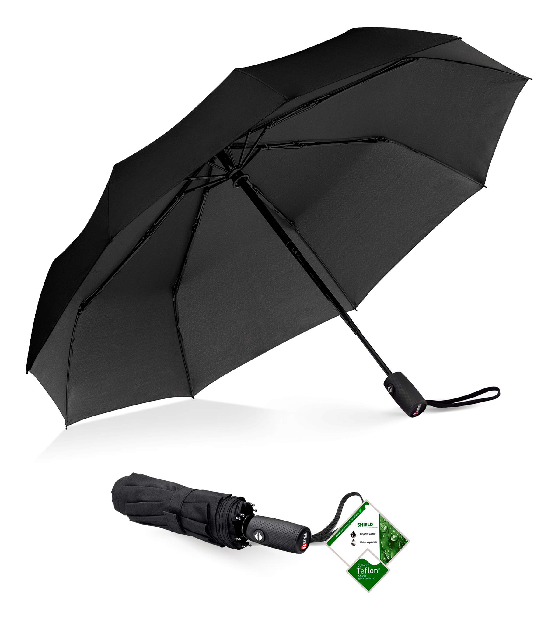 Repel Windproof Travel Umbrella with Teflon Coating by Repel Umbrella