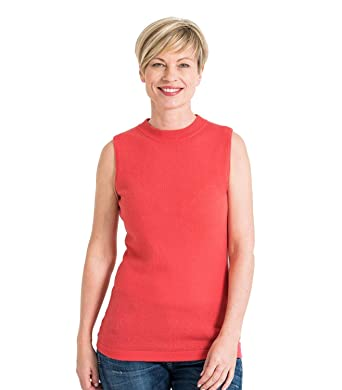 New Women/'s Polo Sleeveless Stretch Turtle Neck Jersey Basic Top Plus Size 8-22