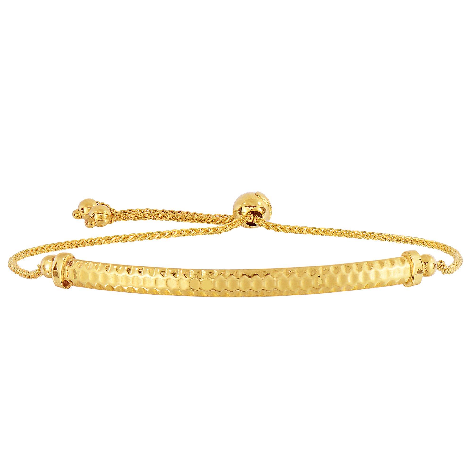 14K Yellow Gold Diamond Cut Round Wheat Adjustable Bracelet With Diamond Cut Arched Bar, 9.25''
