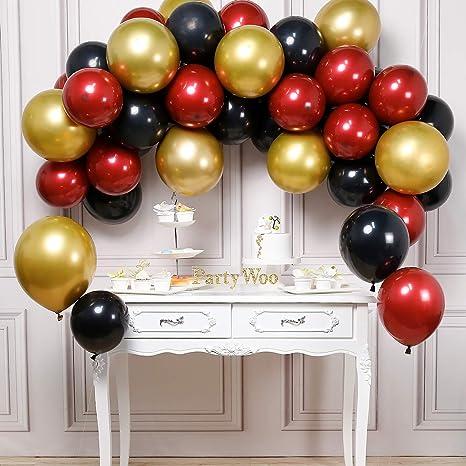 Amazon.com: PartyWoo - Globos negros de color burdeos, 45 ...