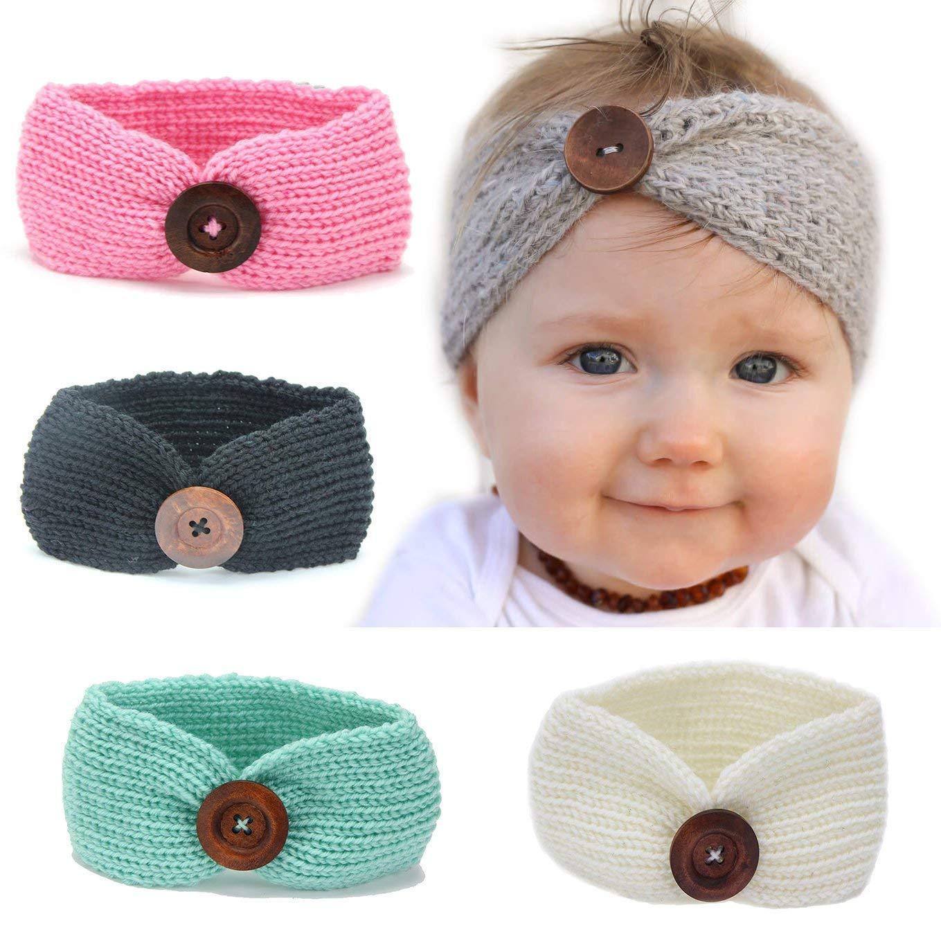 Newborn Baby Girls Toddler Crochet Knit Turban Headband Hair Band Accessories