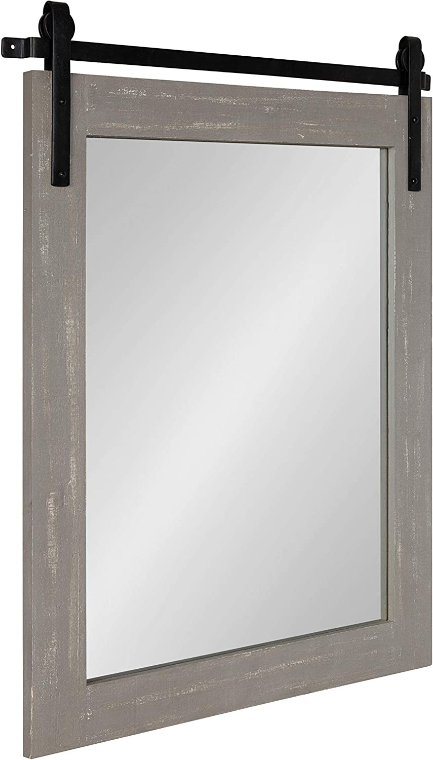 "Kate and Laurel Cates Rustic Wall Mirror, 22"" x 30"" Rustic Gray, Farmhouse Barn Door-Inspired Wall Decor"