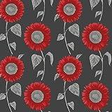 Red / Black / Silver - FD30268 - Sunflower - Fine Decor Wallpaper by Fine Decor