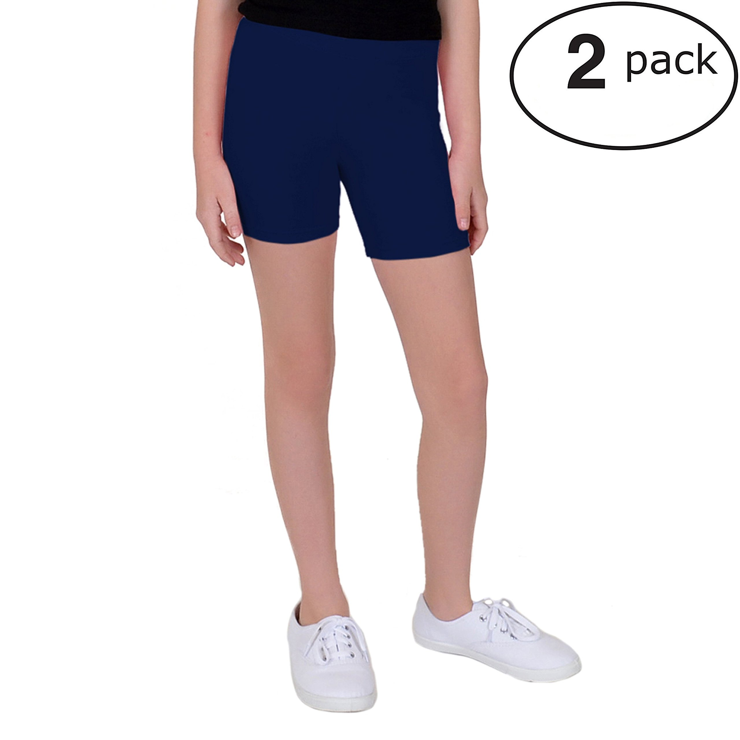Stretch is Comfort Girl's Cotton Biker Shorts Set Of 2 Pieces Navy Blue Medium