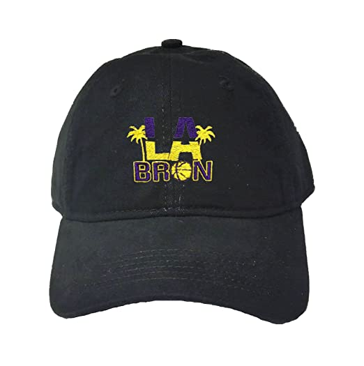 3998c6604b5 Go All Out Adjustable Black Adult LA Bron Palm Trees Embroidered Deluxe Dad  Hat