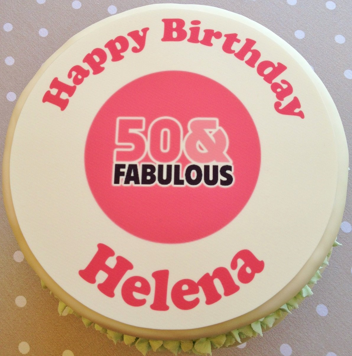 Happy 50th Birthday Personalised Cake Topper Icing Or Wafer Wafer