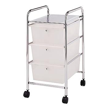 PROTENROP Carrito para baño con Ruedas, 3 cestas, Color Plateado, Acero, plástico, Blanco: Amazon.es: Hogar