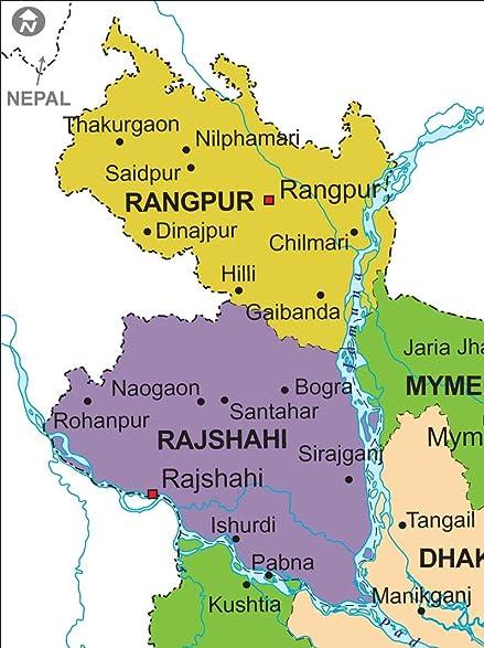 Amazoncom Political Map Of Bangladesh Laminated W X - Saidpur map